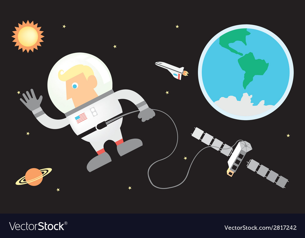 Astronaut and space vector | Price: 1 Credit (USD $1)