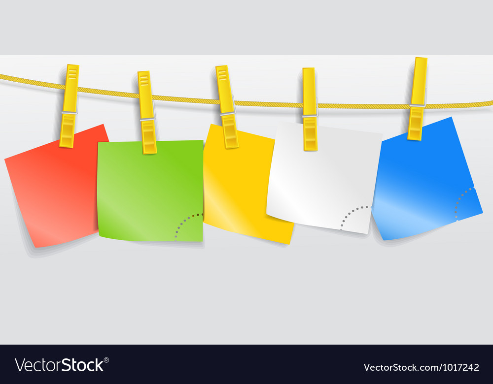 Blank color paper sheets on rope vector | Price: 1 Credit (USD $1)