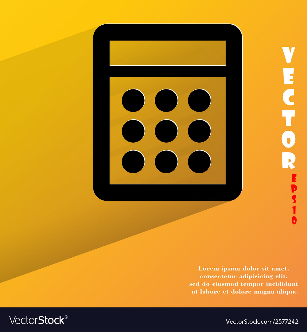 Calculator flat modern web button with long shadow vector | Price: 1 Credit (USD $1)