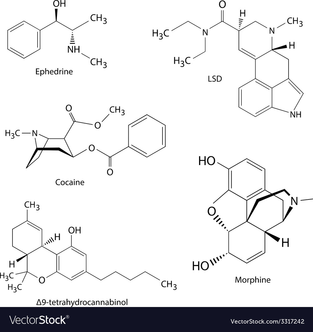 Chemical formulas of illicit drugs and substances vector | Price: 1 Credit (USD $1)