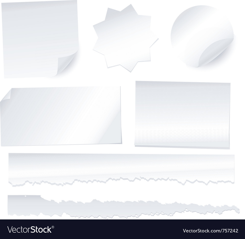 Collection of various white note papers on white b vector | Price: 1 Credit (USD $1)