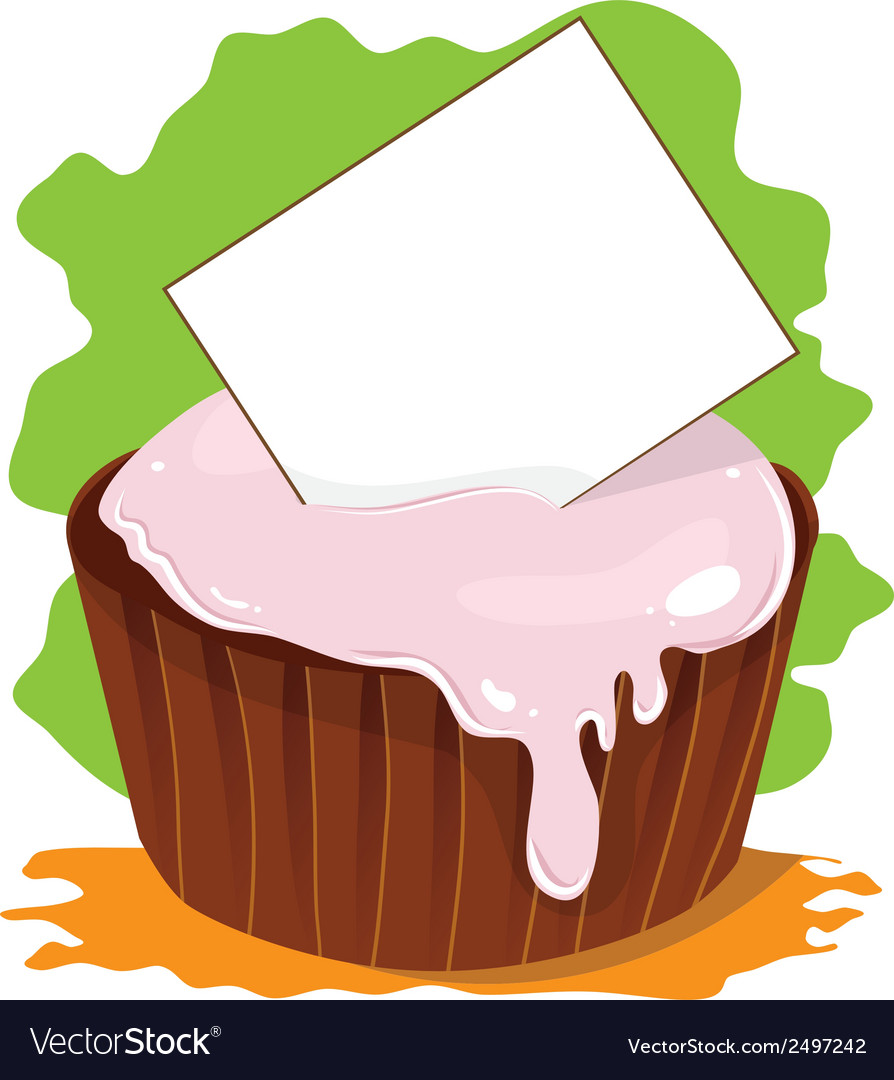 Cupcake with card for text vector | Price: 1 Credit (USD $1)