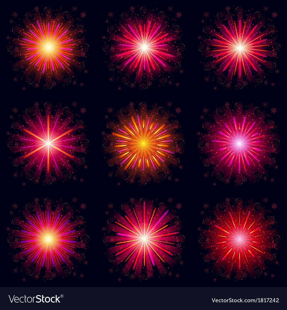 Fireworks set vector | Price: 1 Credit (USD $1)
