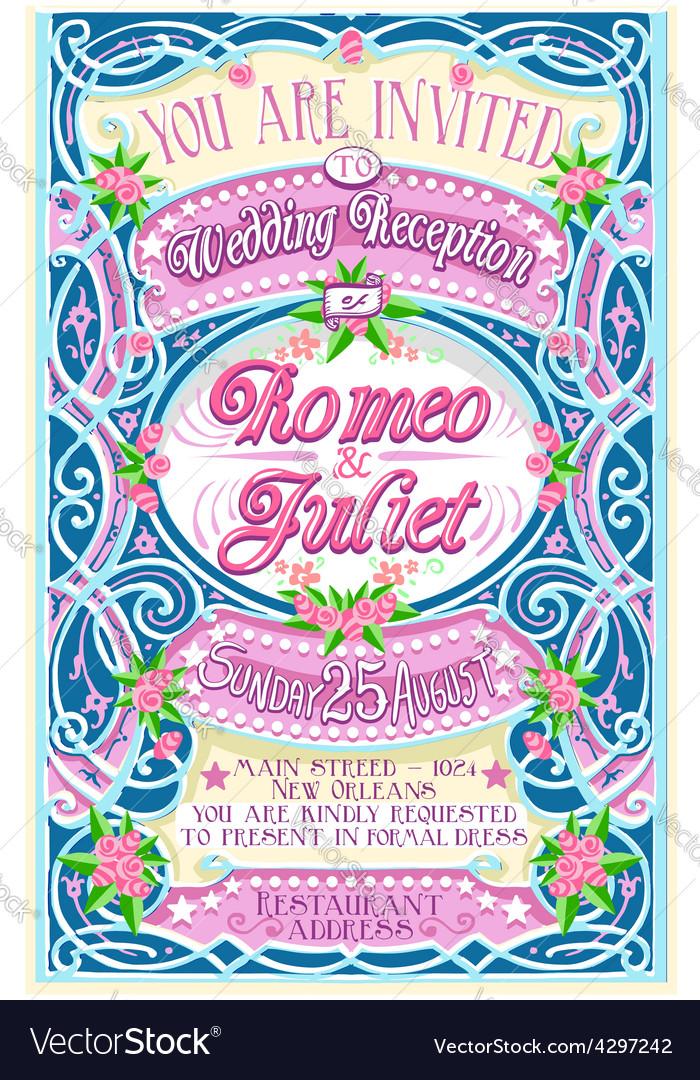 Floral vintage wedding invite vector | Price: 3 Credit (USD $3)