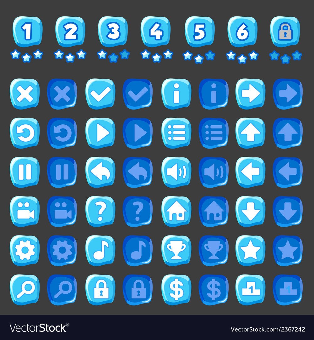 Ice game and levels buttons vector | Price: 1 Credit (USD $1)
