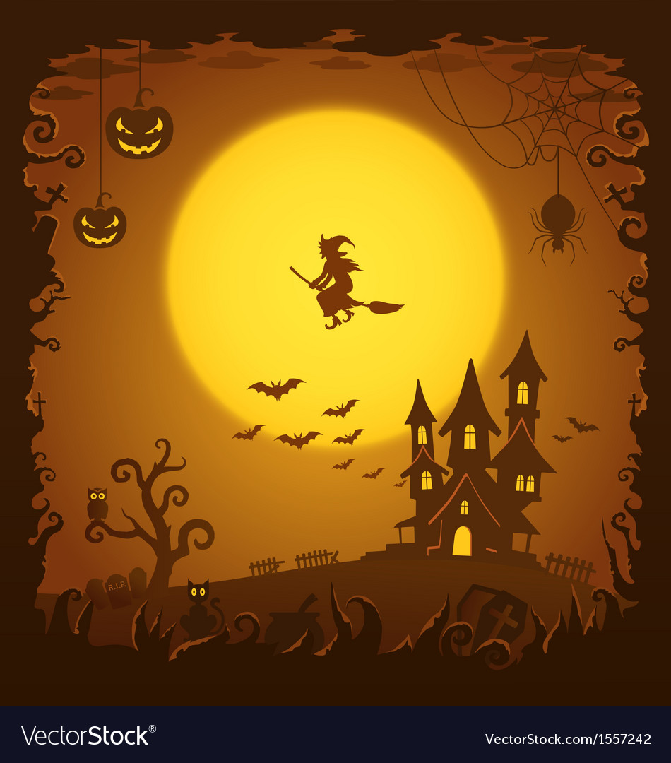 Scary house halloween background vector | Price: 1 Credit (USD $1)