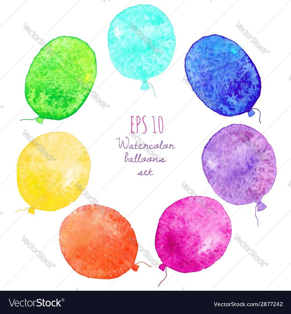Set of multicolored balloons painted in watercolor vector | Price: 1 Credit (USD $1)