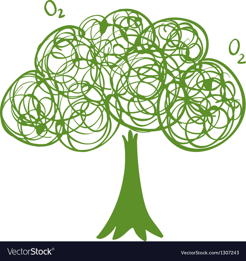 A drawing of a green tree vector | Price: 1 Credit (USD $1)