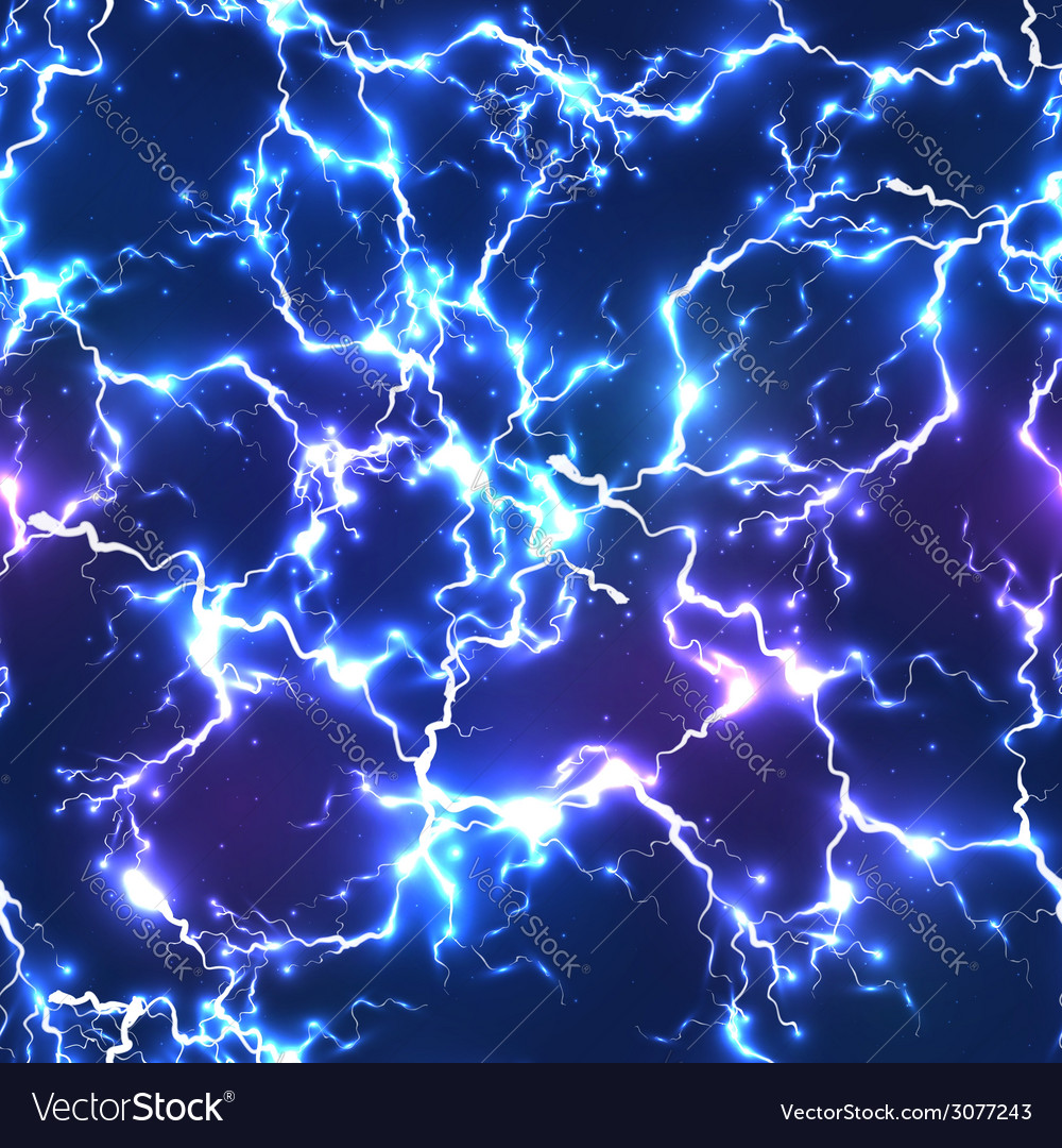 Abstract blue electric lightning seamless pattern vector