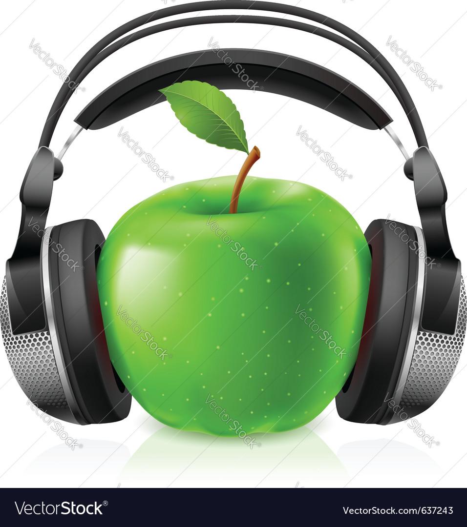 Apple with headphones vector | Price: 3 Credit (USD $3)