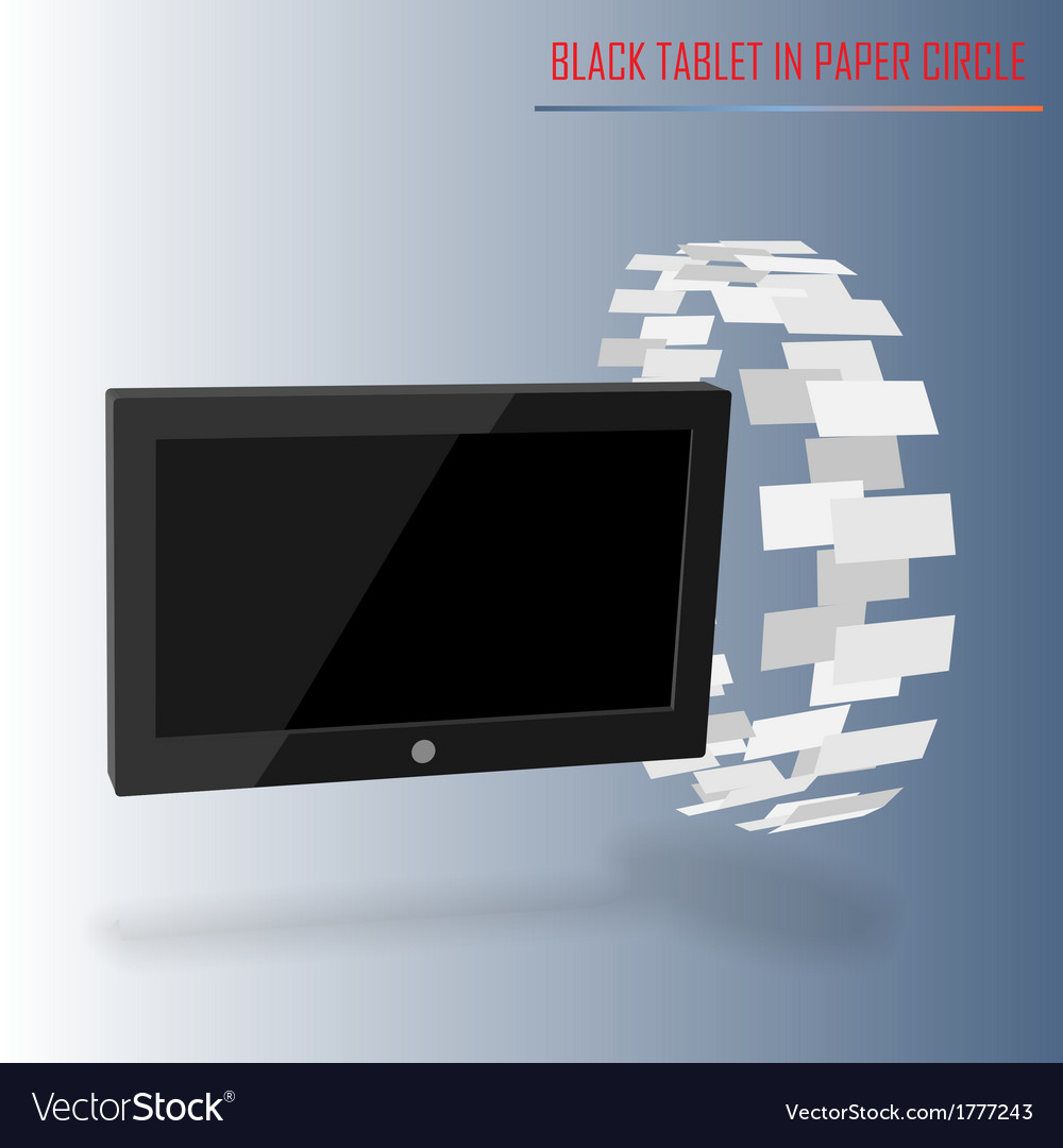 Black tablet in paper circle vector | Price: 1 Credit (USD $1)
