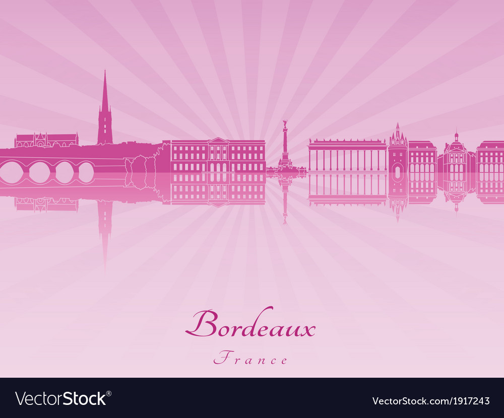 Bordeaux skyline in purple radiant orchid vector | Price: 1 Credit (USD $1)