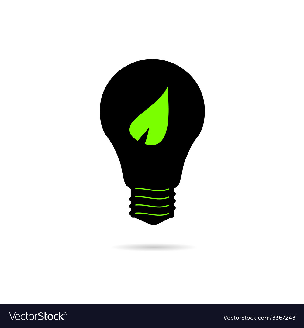 Bulb with green leaf vector | Price: 1 Credit (USD $1)