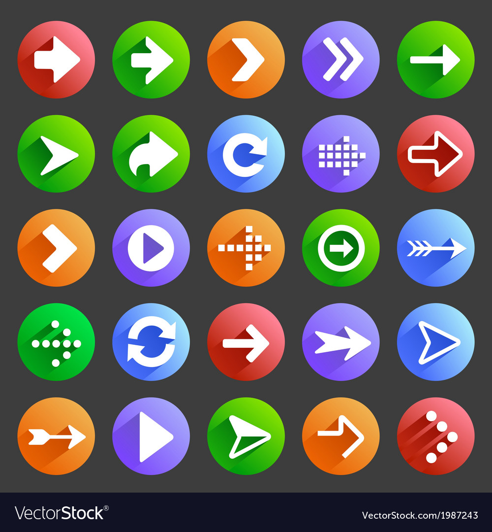 Flat arrow icons 4 vector | Price: 1 Credit (USD $1)