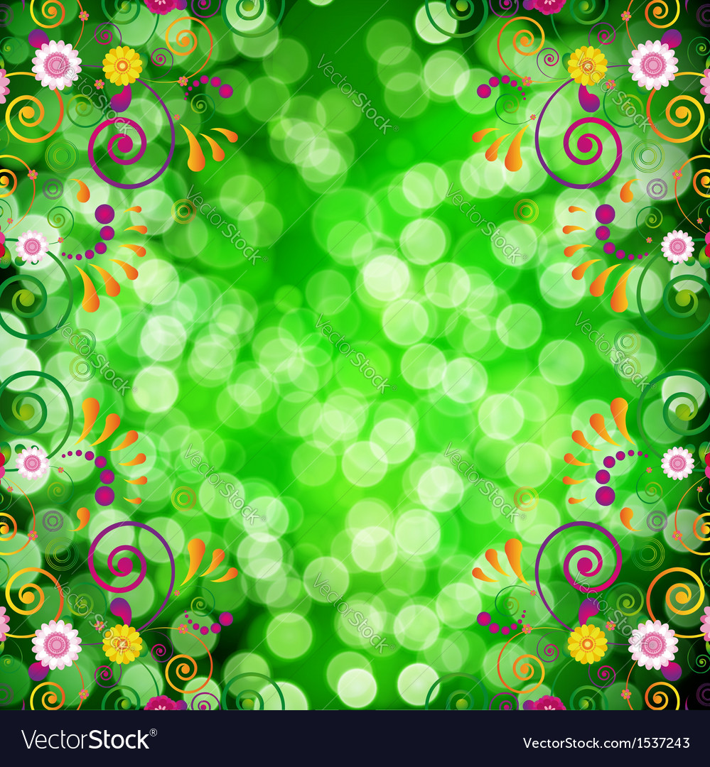 Floral background with bokeh defocused lights vector | Price: 1 Credit (USD $1)