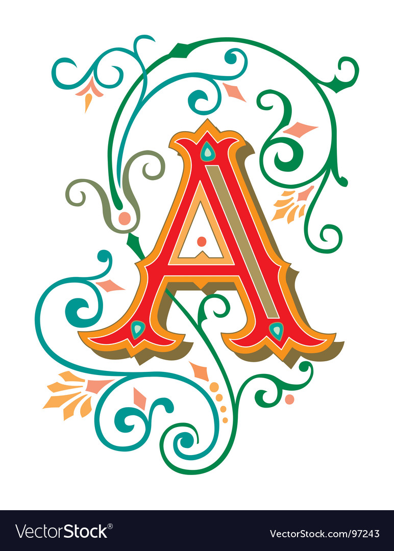 Floral letter a vector | Price: 1 Credit (USD $1)
