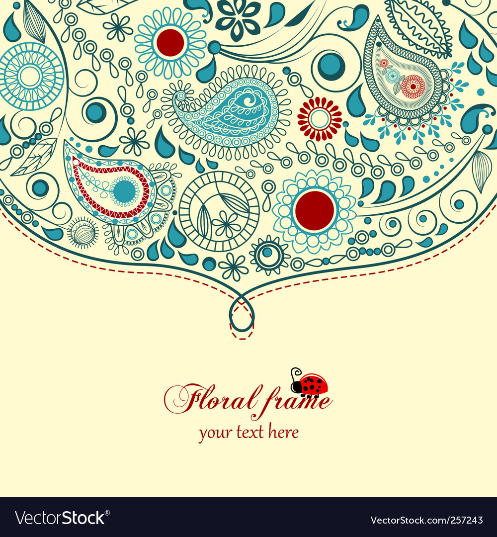 Floral paisley frame vector | Price: 1 Credit (USD $1)