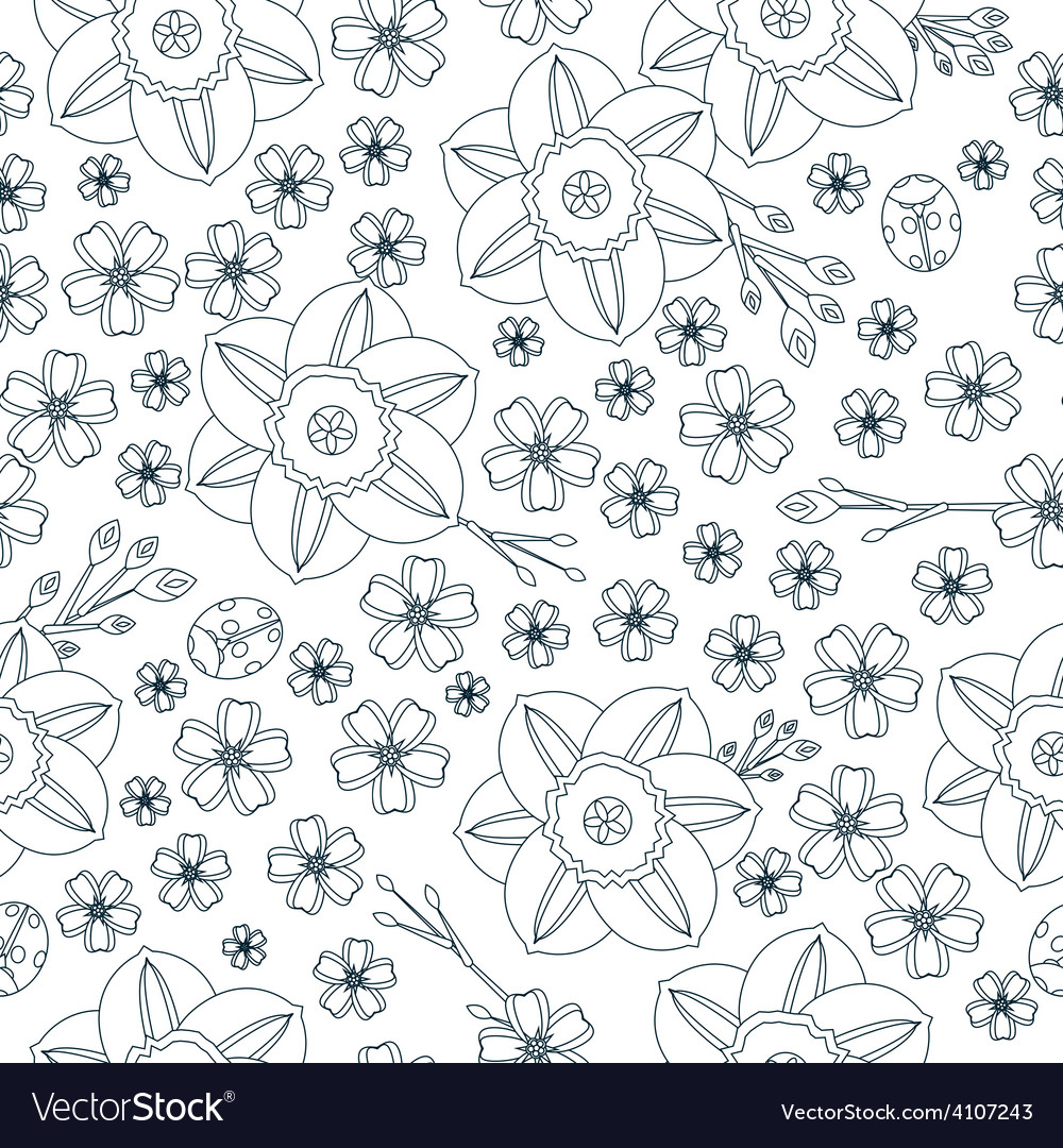 Floral spring seamless background vector