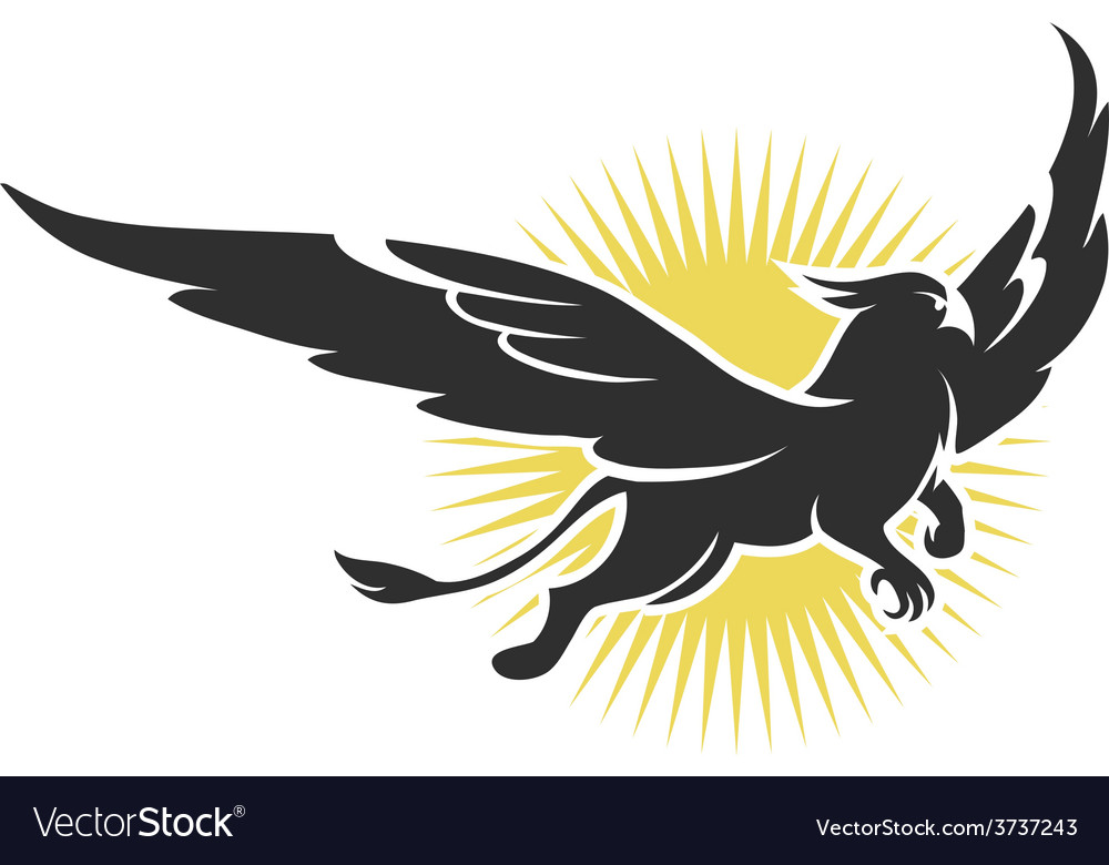 Griffin on a background of the sun vector | Price: 1 Credit (USD $1)