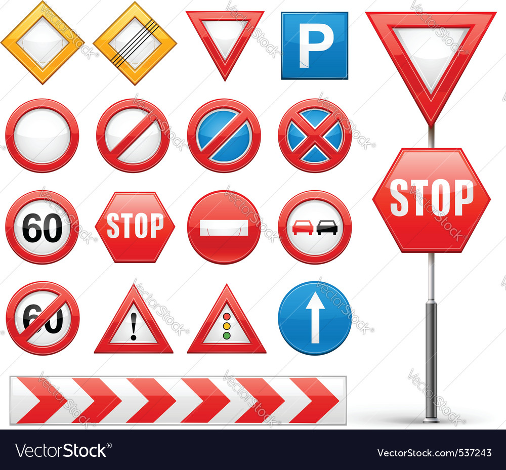 Icons set of road signs vector | Price: 1 Credit (USD $1)