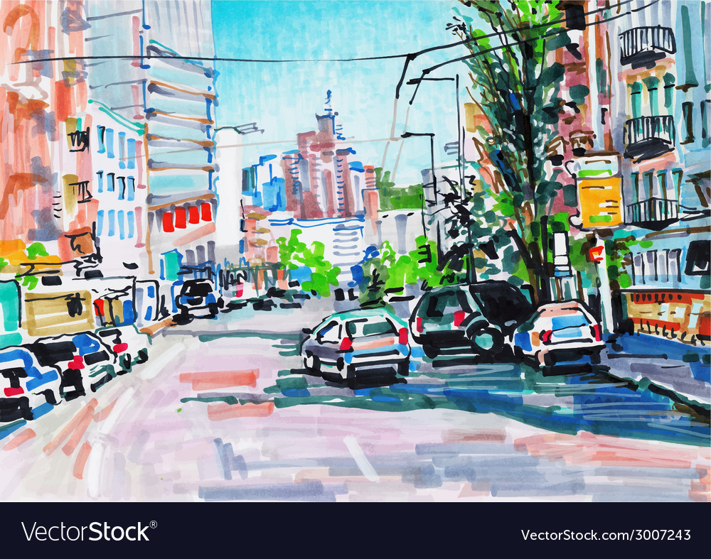 Marker painting of cityscape vector | Price: 1 Credit (USD $1)