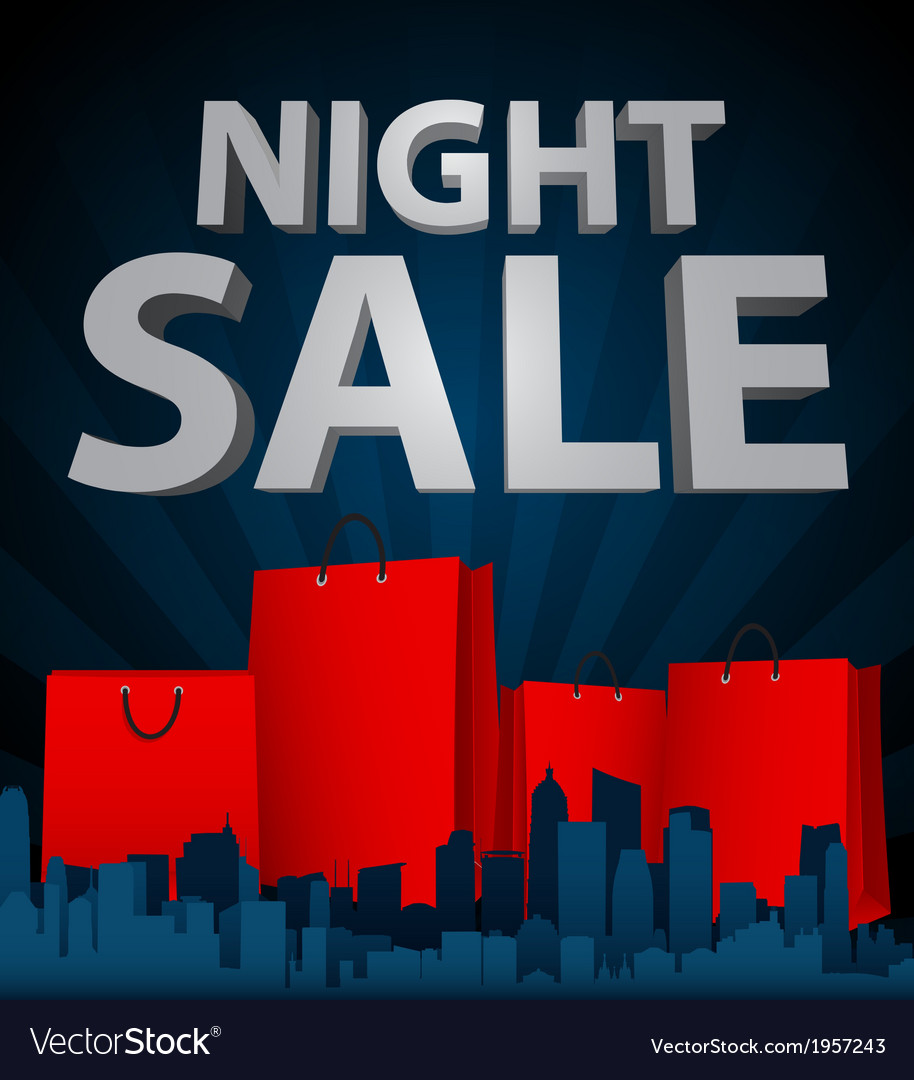 Night sale with shopping bag in city vector | Price: 1 Credit (USD $1)