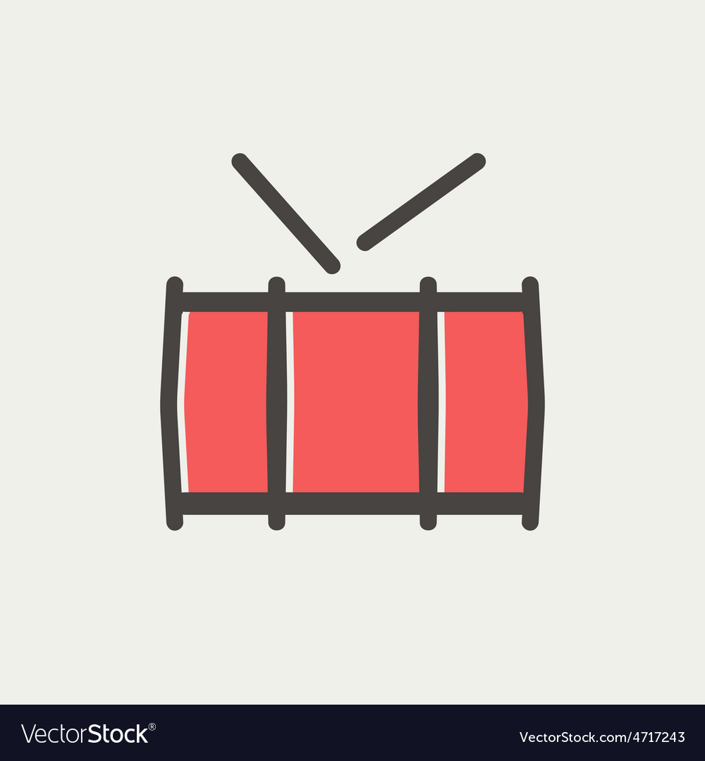 Snare drum thin line icon vector | Price: 1 Credit (USD $1)