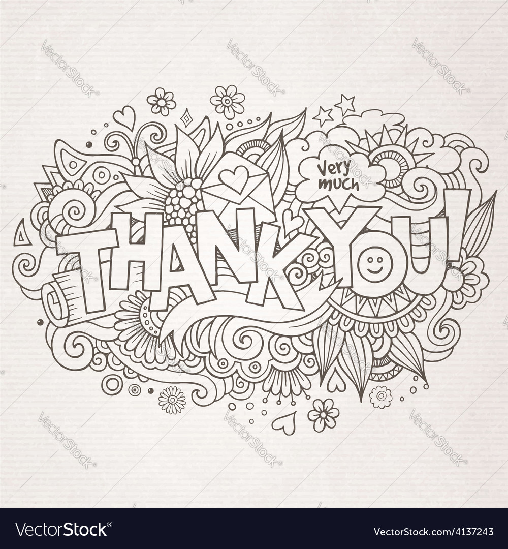 Thank you hand lettering and doodles elements vector