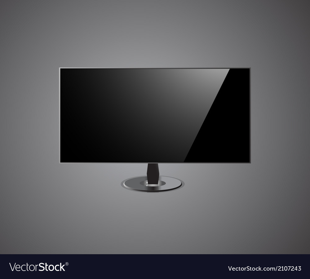 Tv screen hd- isolated on grey background vector | Price: 1 Credit (USD $1)