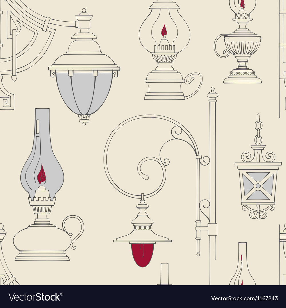 Vintage lamp seamless pattern vector | Price: 1 Credit (USD $1)