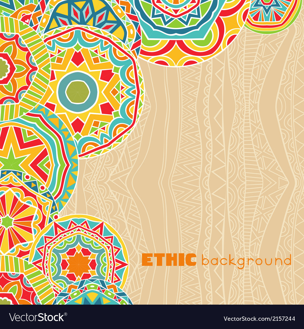 Bright rounds at ethnic background vector | Price: 1 Credit (USD $1)