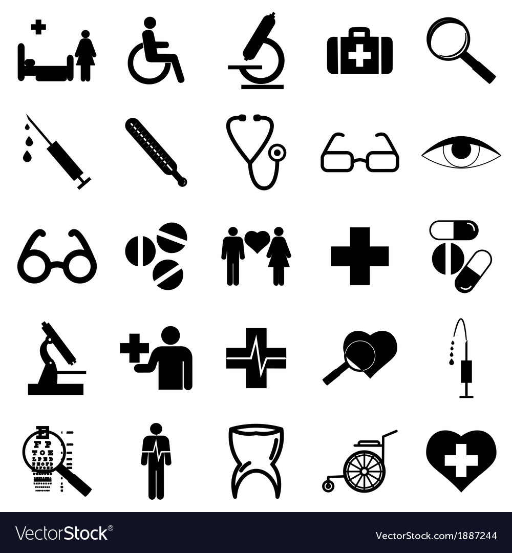 Collection flat icons medicine symbols vector | Price: 1 Credit (USD $1)