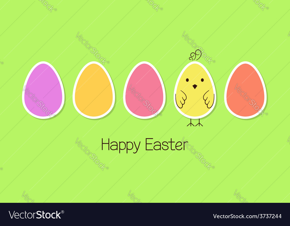 Easter eggs and baby bird vector | Price: 1 Credit (USD $1)