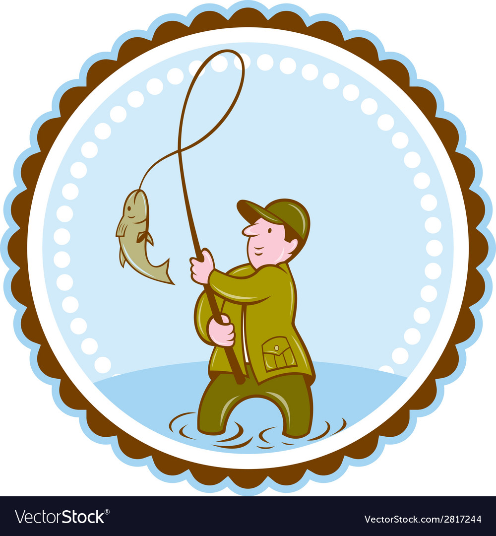 Fly fisherman fish on reel rosette cartoon vector | Price: 1 Credit (USD $1)