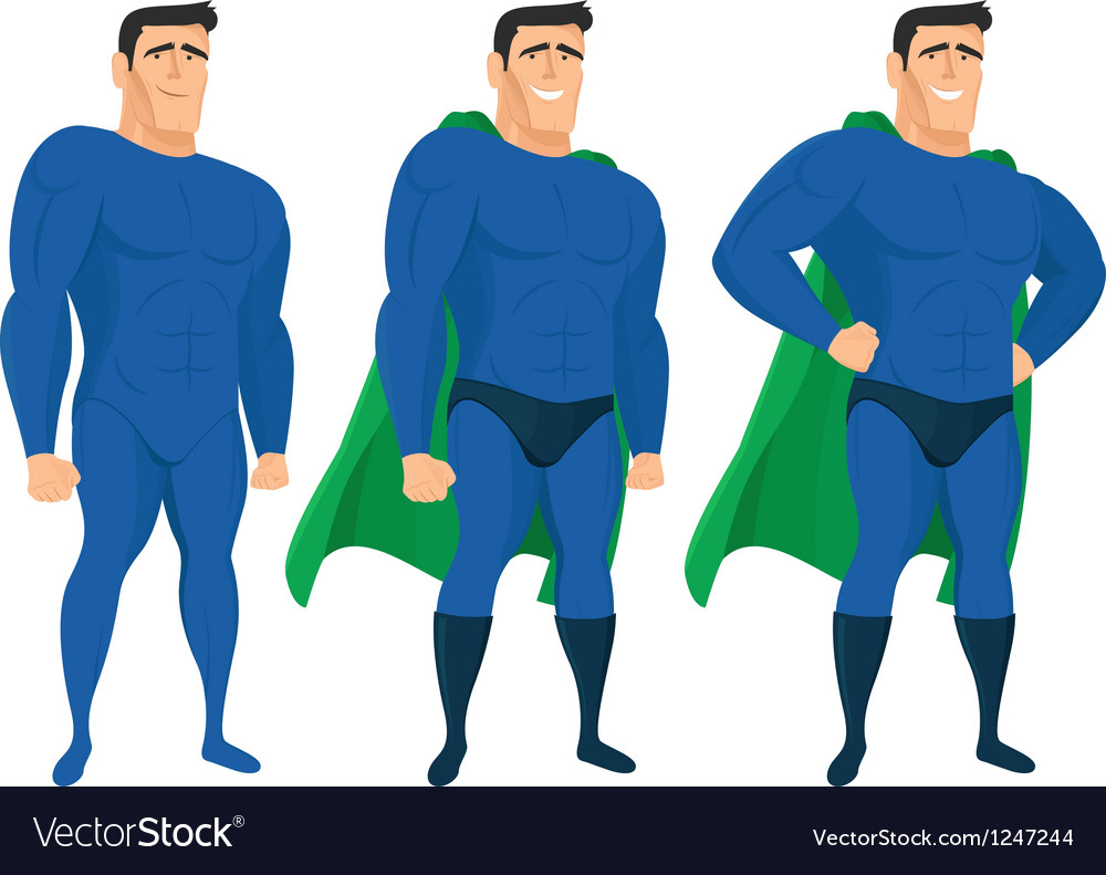 Funny superhero mascot in different poses vector | Price: 3 Credit (USD $3)
