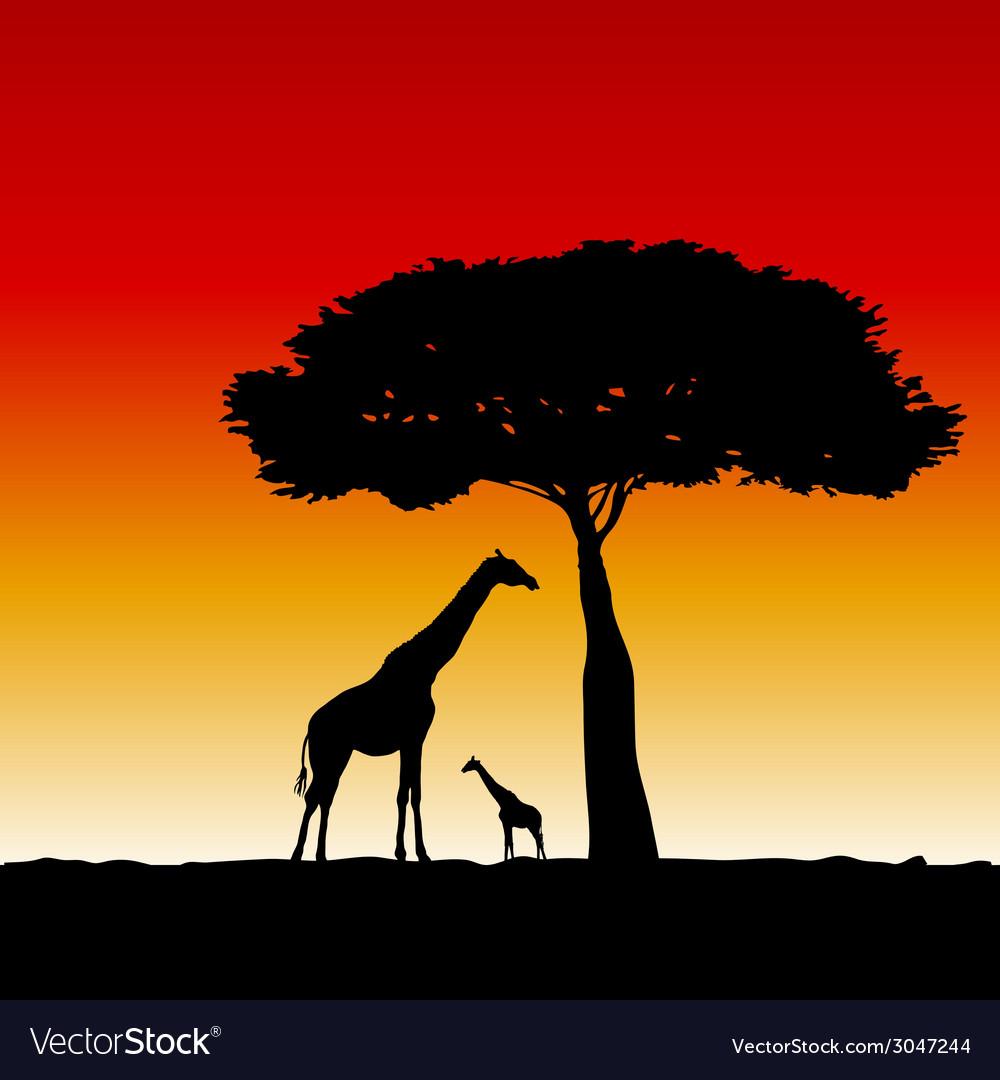 Giraffe art silhouette vector | Price: 1 Credit (USD $1)