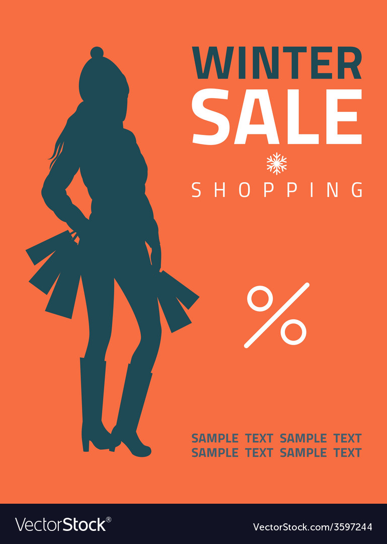 Girl or woman on big winter shopping sale hold vector | Price: 1 Credit (USD $1)