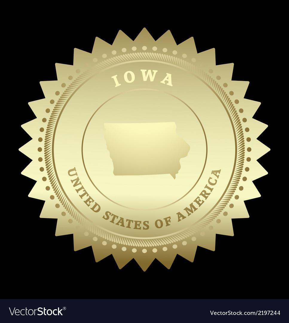 Gold star label iowa vector | Price: 1 Credit (USD $1)