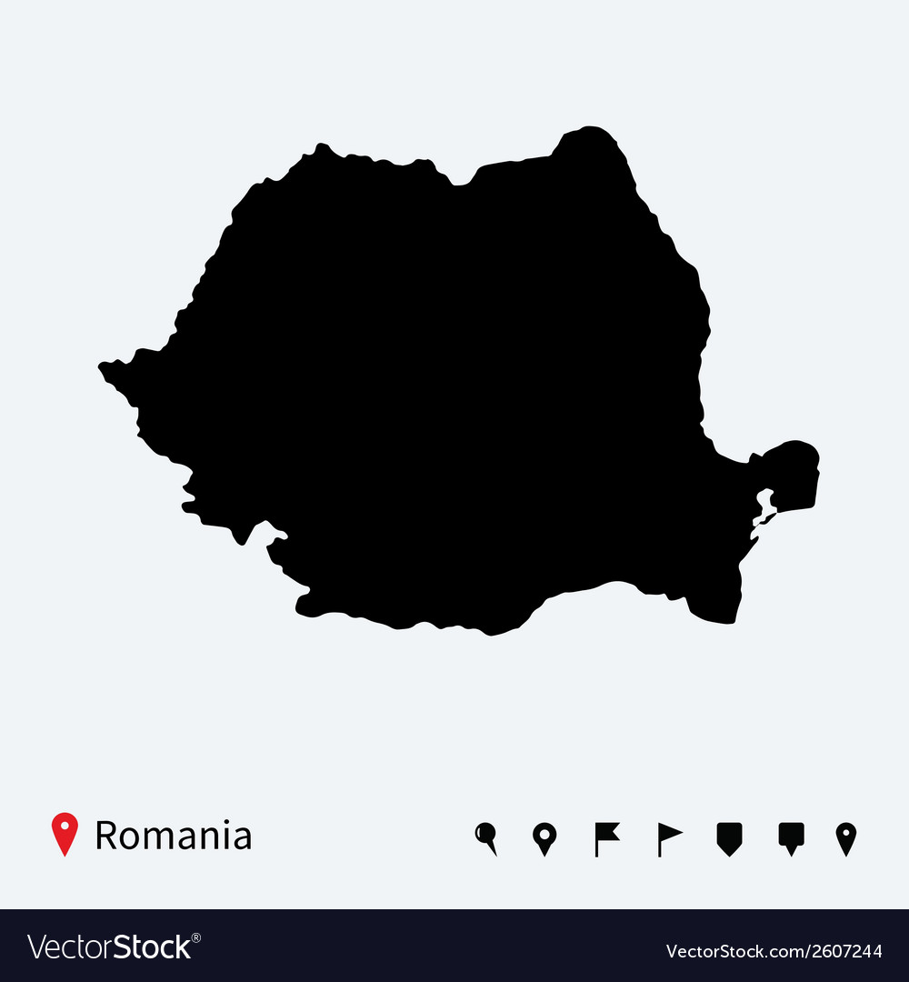 High detailed map of romania with navigation pins vector | Price: 1 Credit (USD $1)