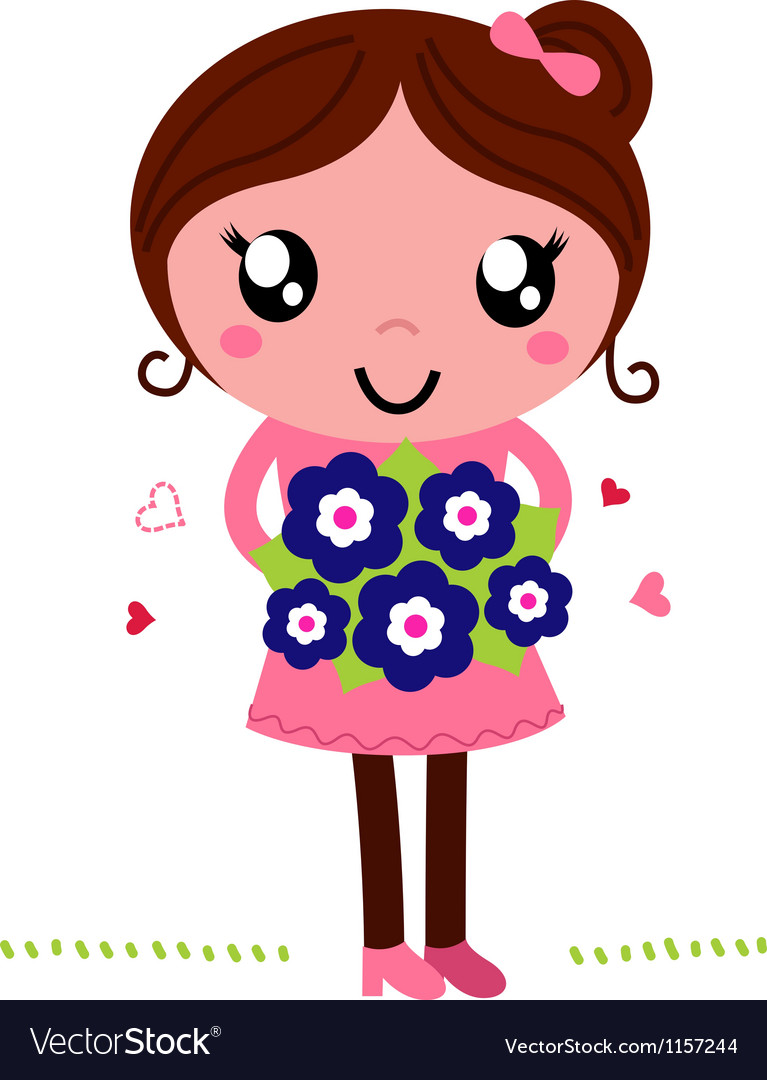Mother holding a flowers for mothers day vector   Price: 1 Credit (USD $1)
