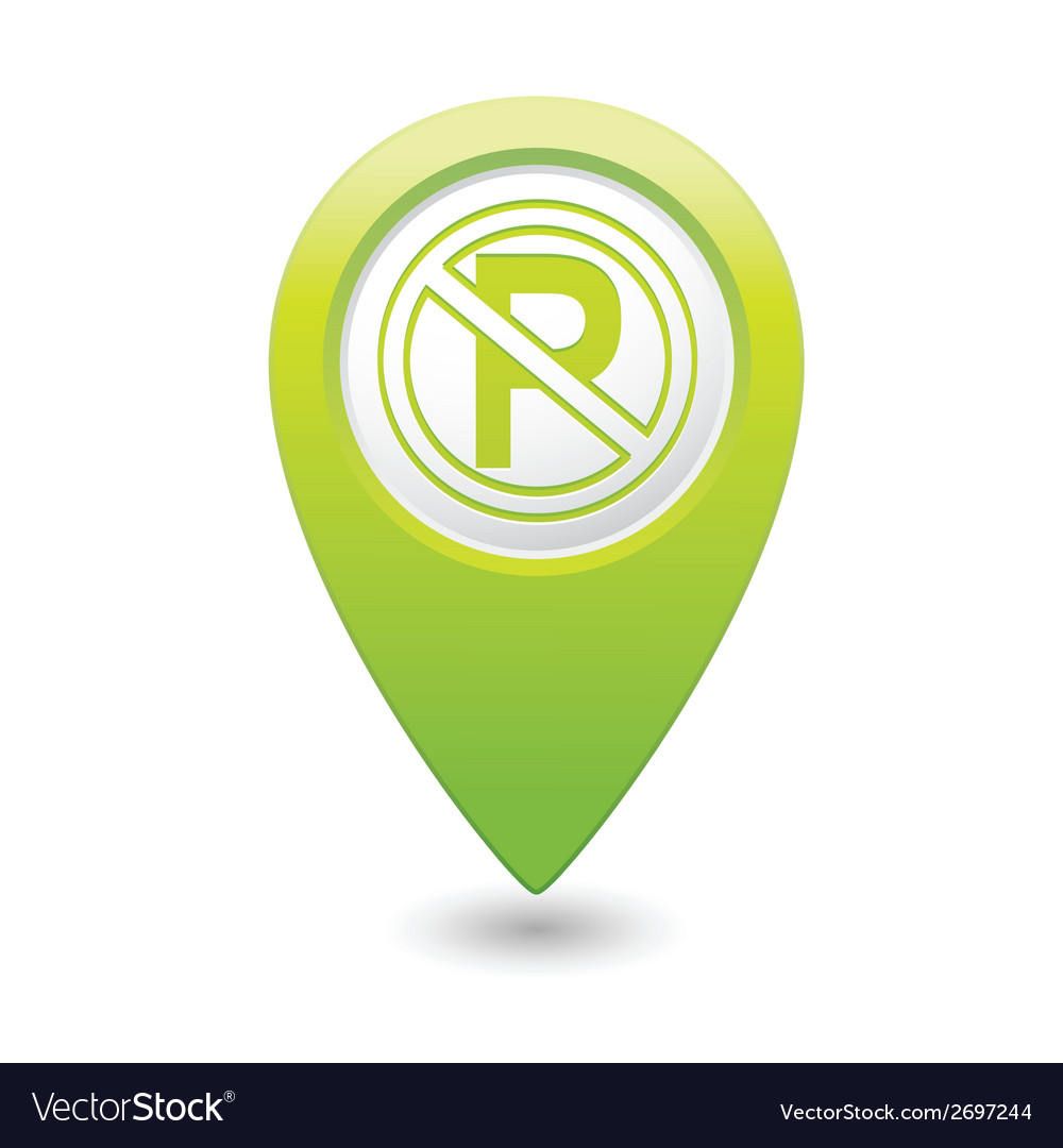 No parking symbol map pointer green vector | Price: 1 Credit (USD $1)