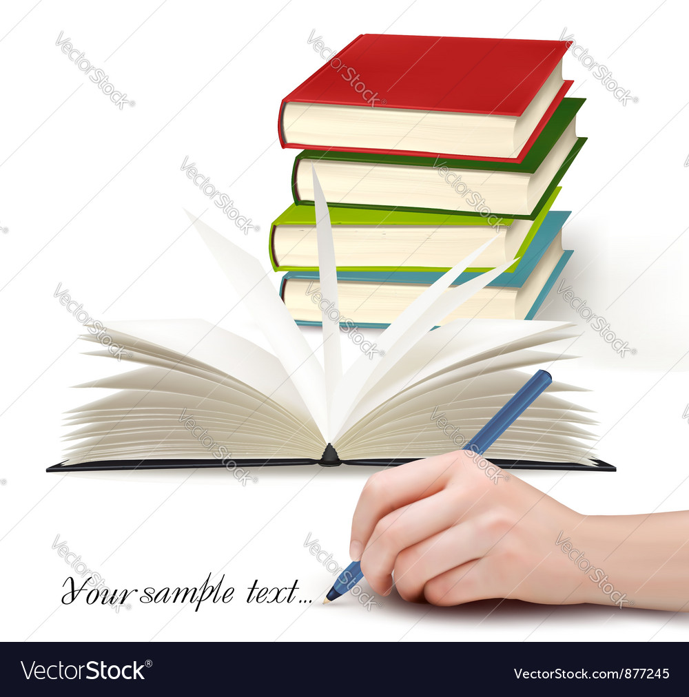 Book stack and writing vector | Price: 1 Credit (USD $1)