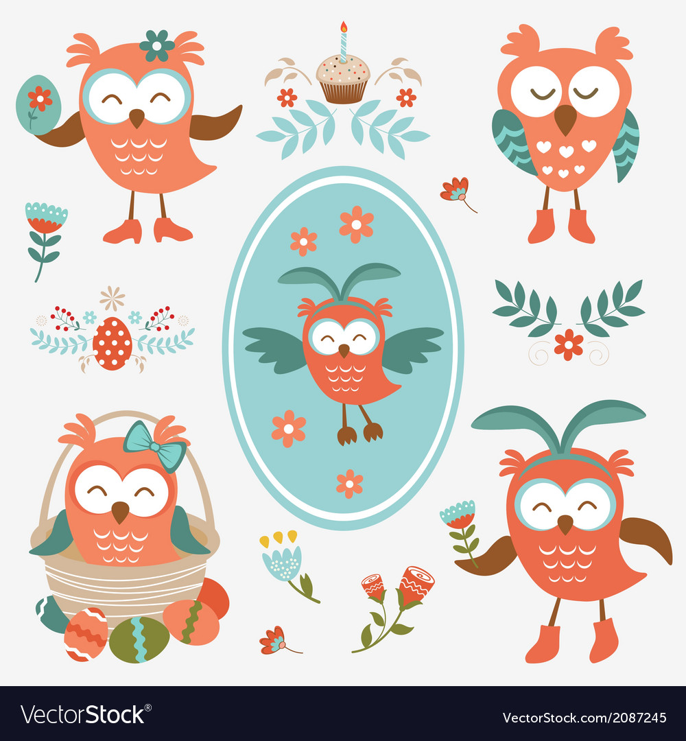 Cute easter olws collection vector   Price: 1 Credit (USD $1)