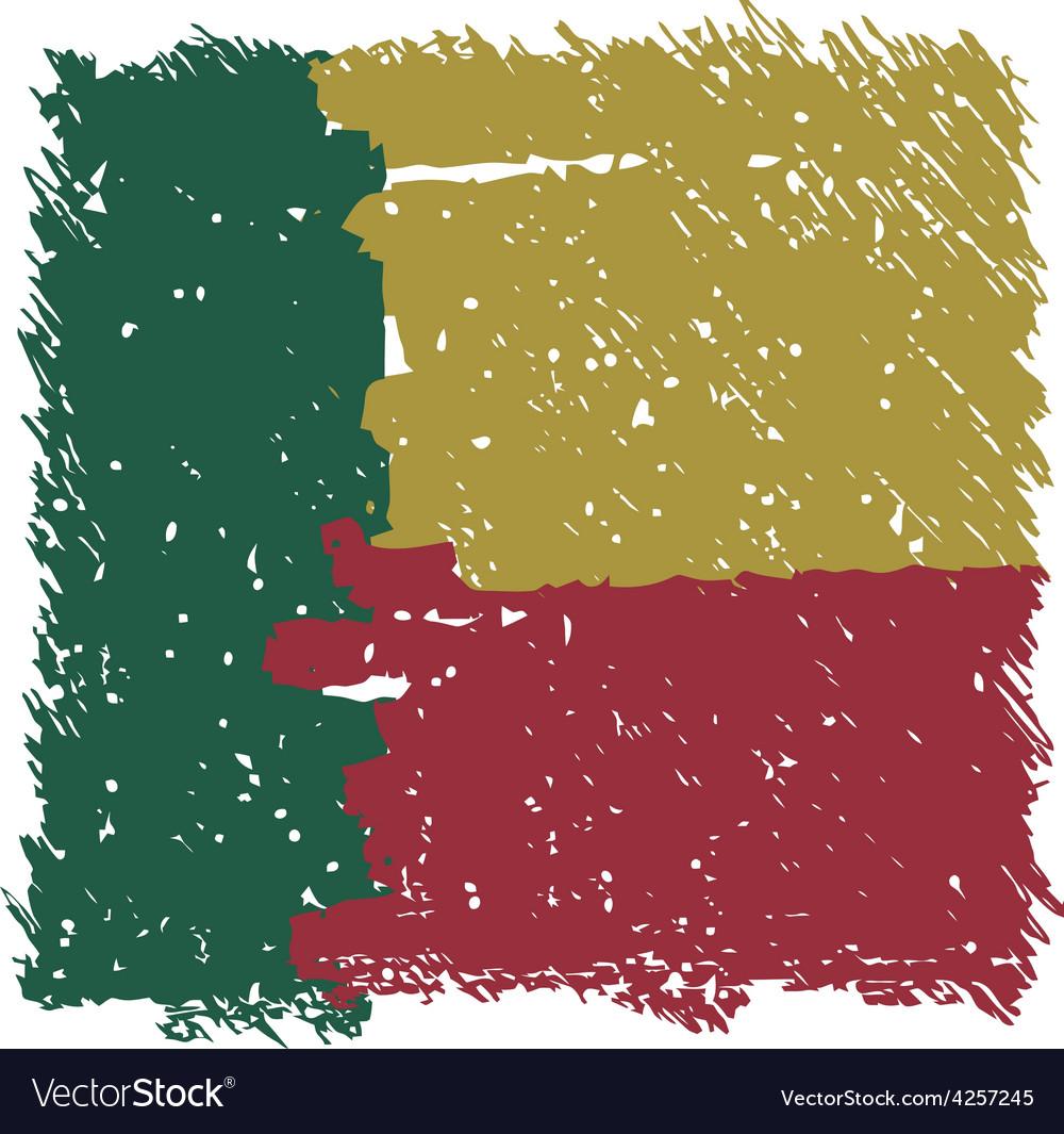 Flag of benin handmade square shape vector | Price: 1 Credit (USD $1)