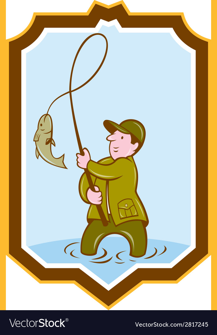 Fly fisherman fish on reel shield cartoon vector | Price: 1 Credit (USD $1)
