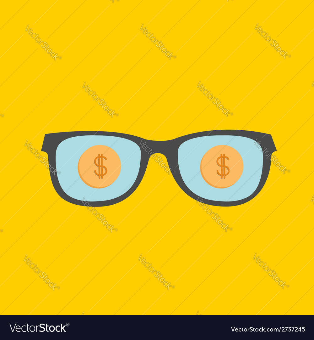 Glasses and gold dollar coin inside flat design st vector | Price: 1 Credit (USD $1)