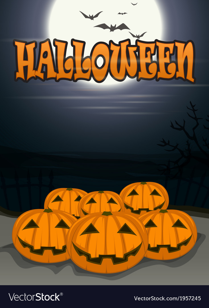 Halloween background with scary pumpkins vector | Price: 1 Credit (USD $1)