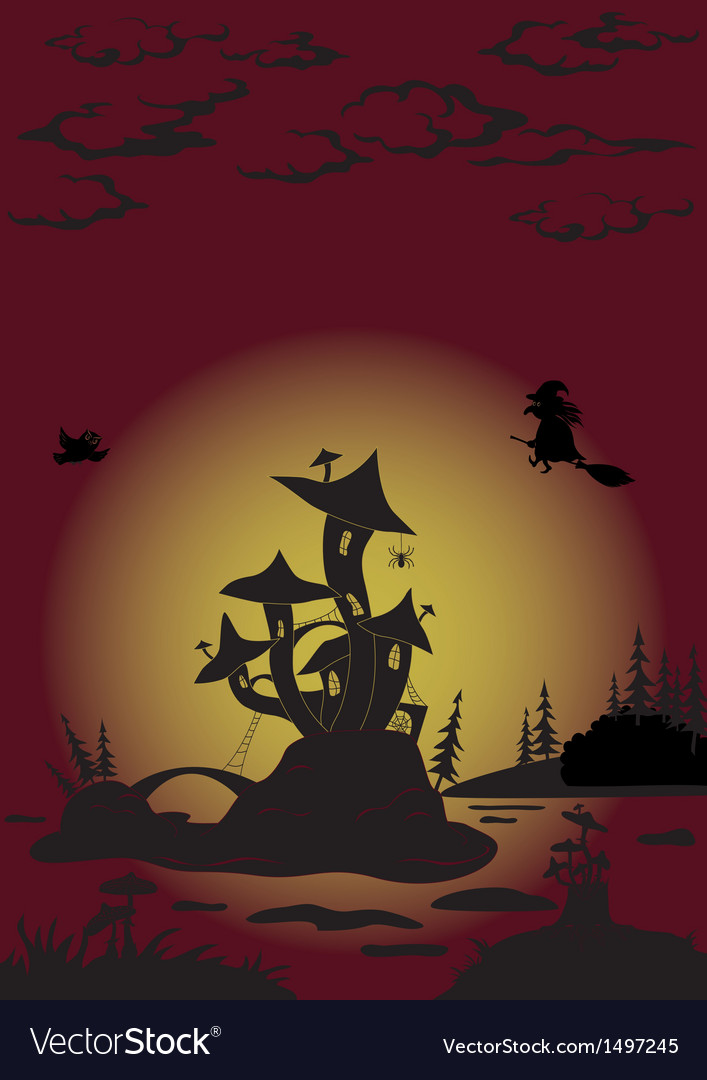 Halloween landscape with castle - mushroom vector | Price: 3 Credit (USD $3)