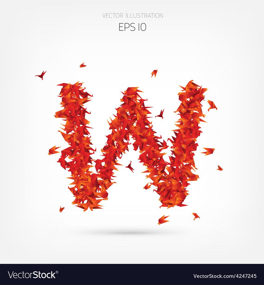 Origami paper birds alphabet letter w vector | Price: 1 Credit (USD $1)