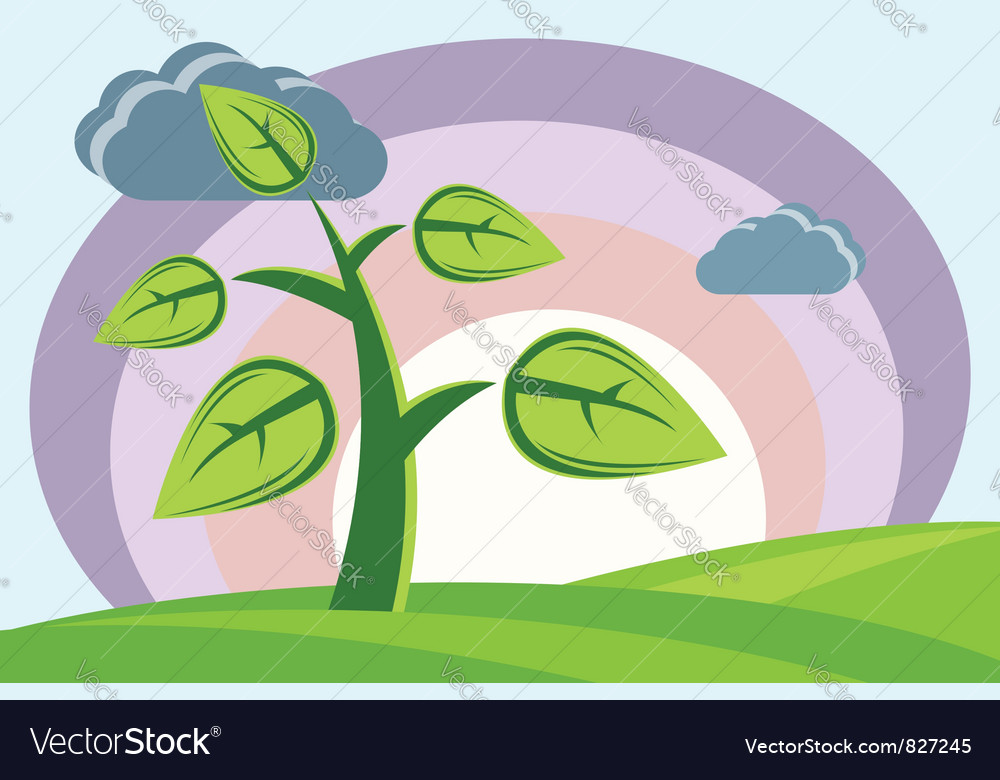 Plant sun clouds hills vector | Price: 1 Credit (USD $1)